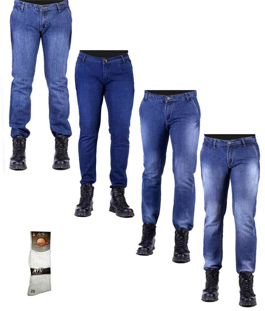 Ansh Fashion Wear Men's Jeans Combo Of 4 Denim Jeans With Free 1 Pair Of Assorted Socks