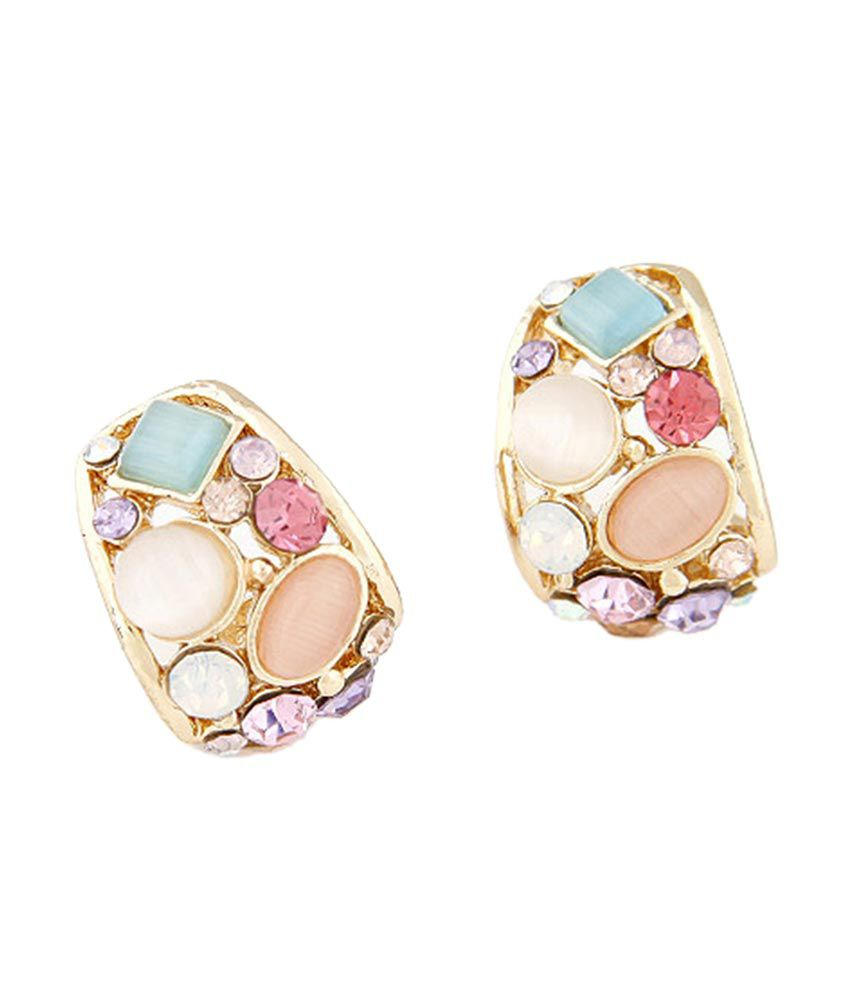 Jewel Touch Multicolor Gemstone Decorated Geometrical Shape Design Alloy Stud Earrings