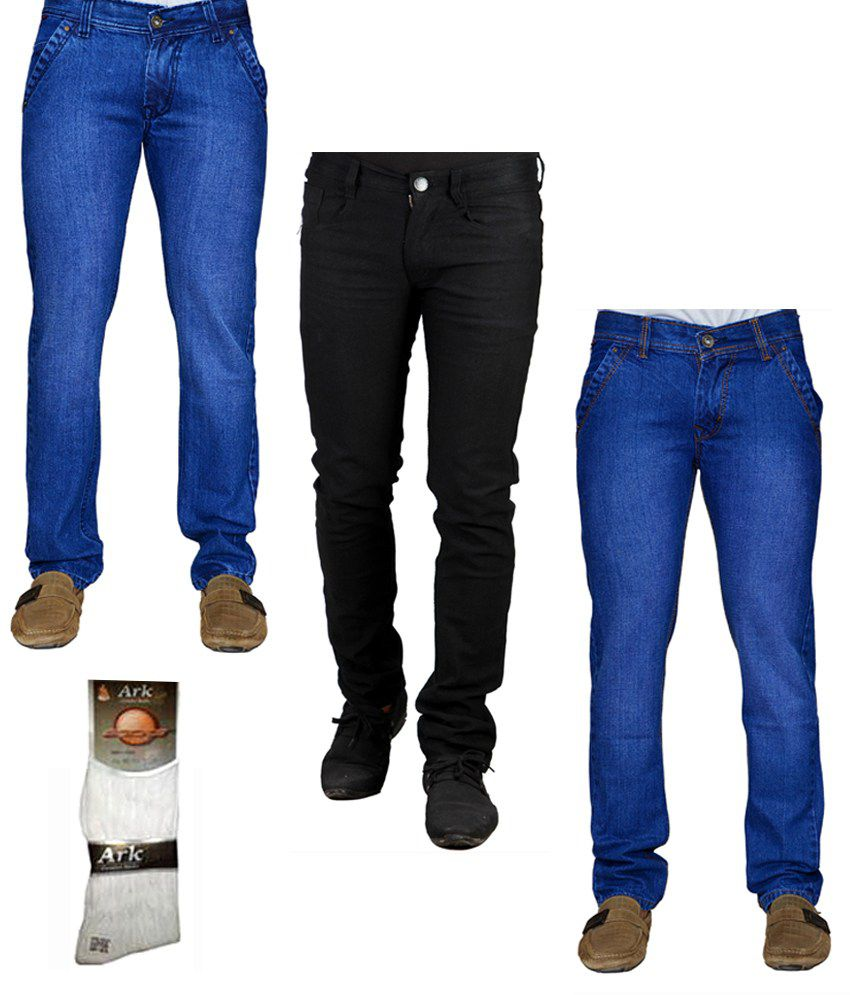 Ansh Fashion Wear Men's Jeans Combo Of 3 Denim Jeans With Free 1 Pair Of Assorted Socks