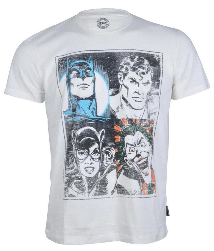 Dc Comics White Cotton T-shirt