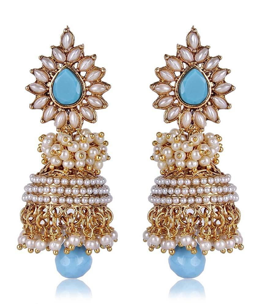 Shinningdiva Aashiqui 2 Earrings In Blue Color