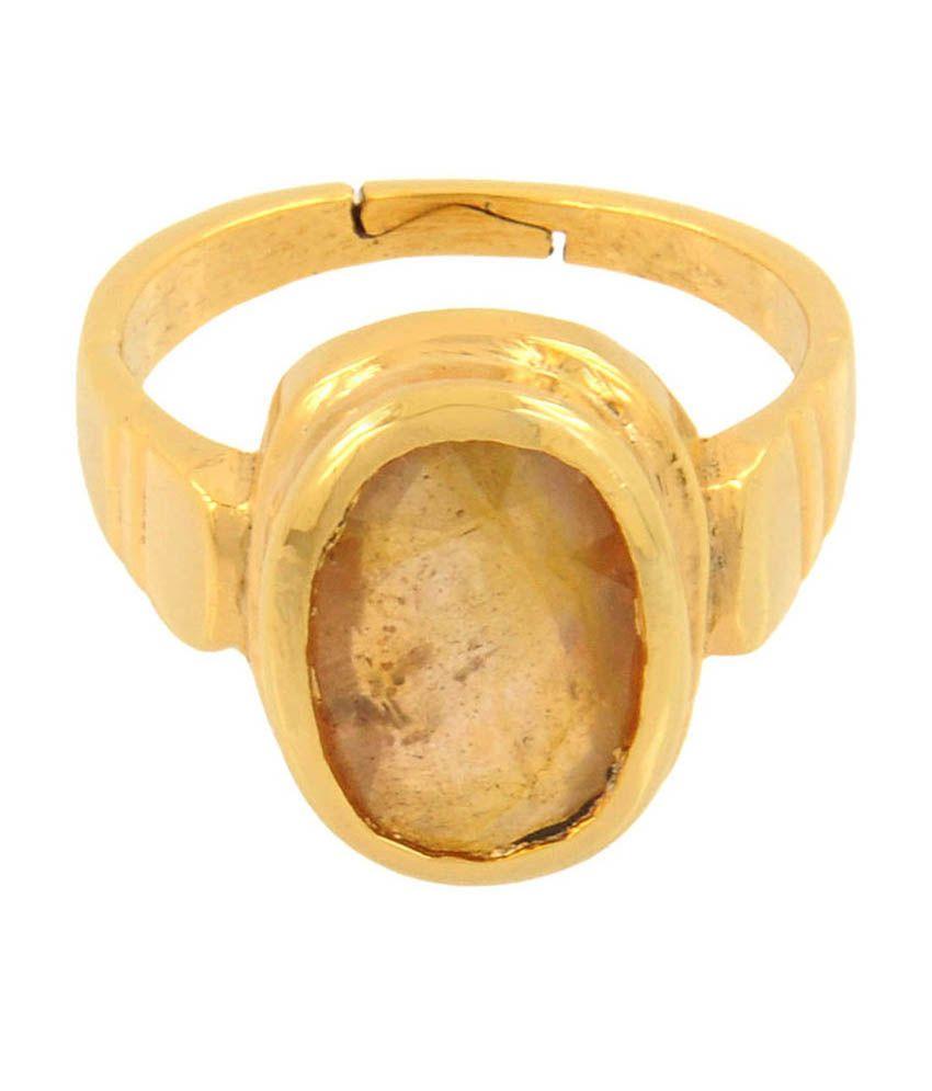 Barishh Pukhraj Stone Adjustable Ring 7.50 Ratti Best Quality Yellow Sapphire With Gold Pleated Laxmi-ganesh Coin