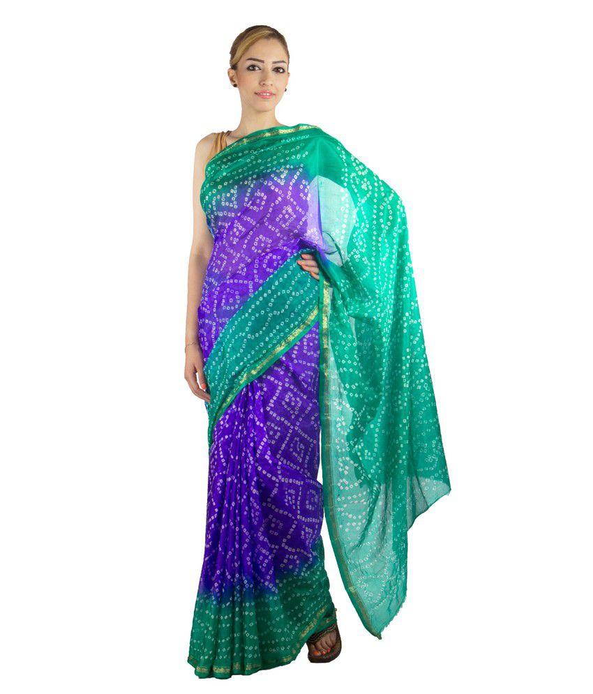 Jaipur Kurti Royal Blue Art Silk Hand Dyed Bandhej Saree With Blouse