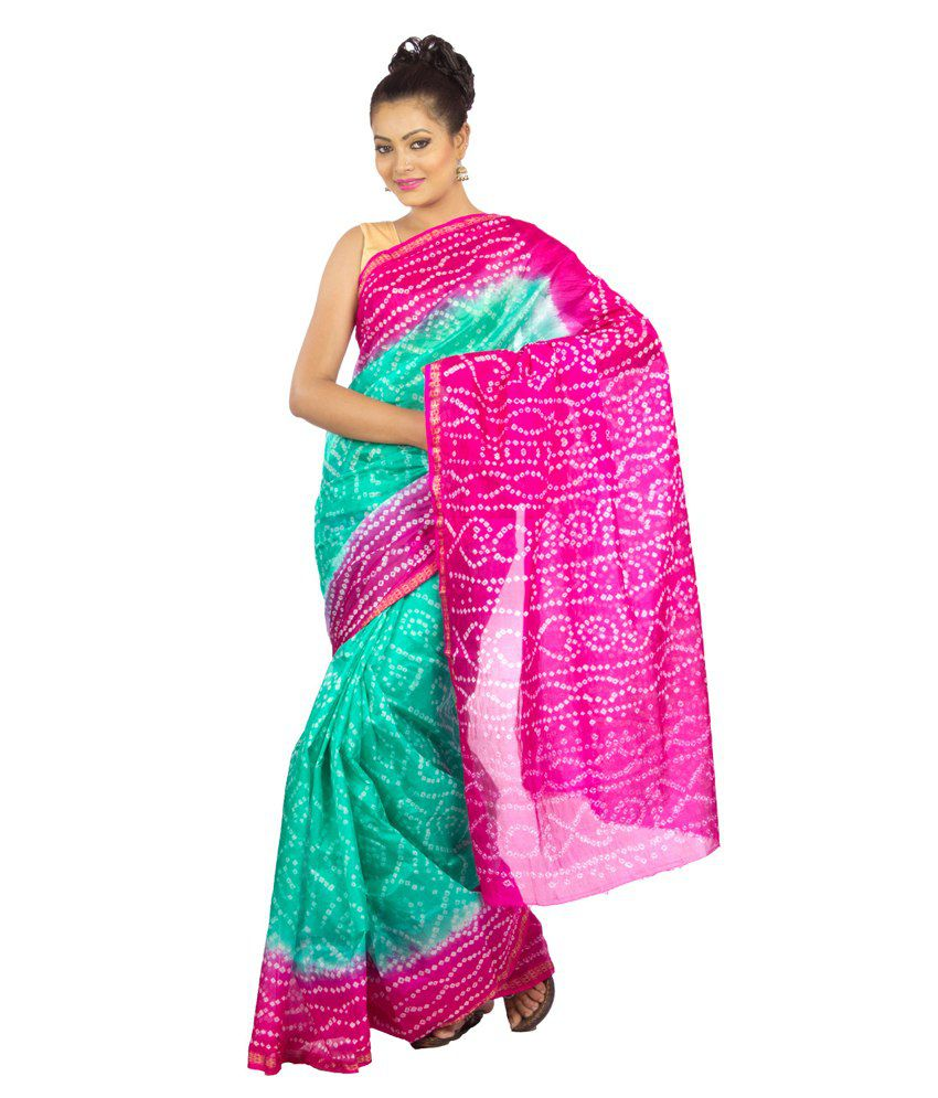 Jaipur Kurti Green And Pink Raw Silk Saree