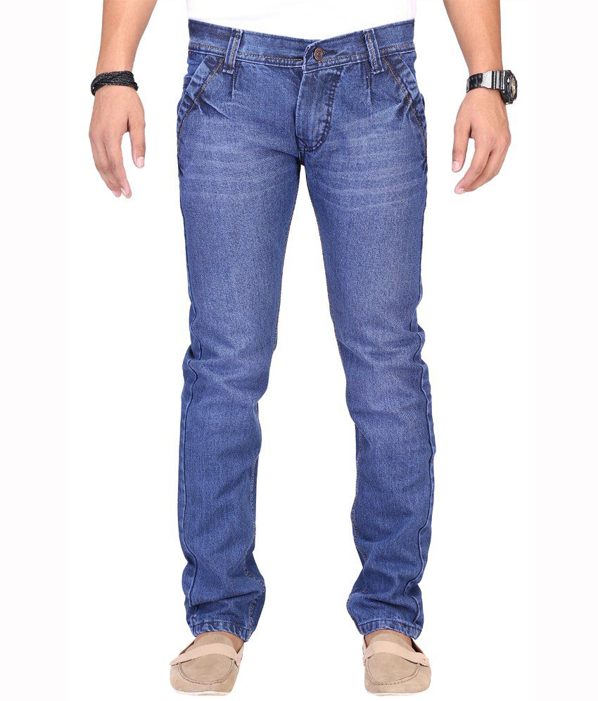 Kaasan Blue Cotton Faded Regular Fit Jeans
