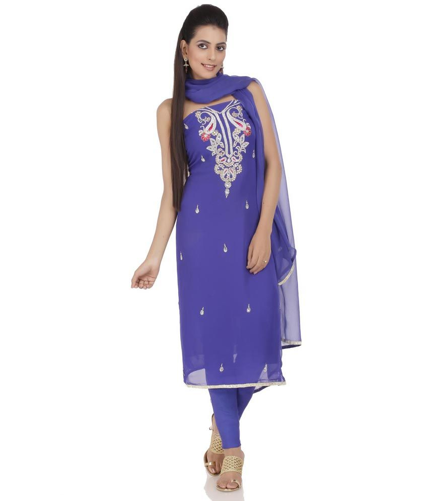 Chhabra 555 Blue Faux Georgette Unstitched Dress Material