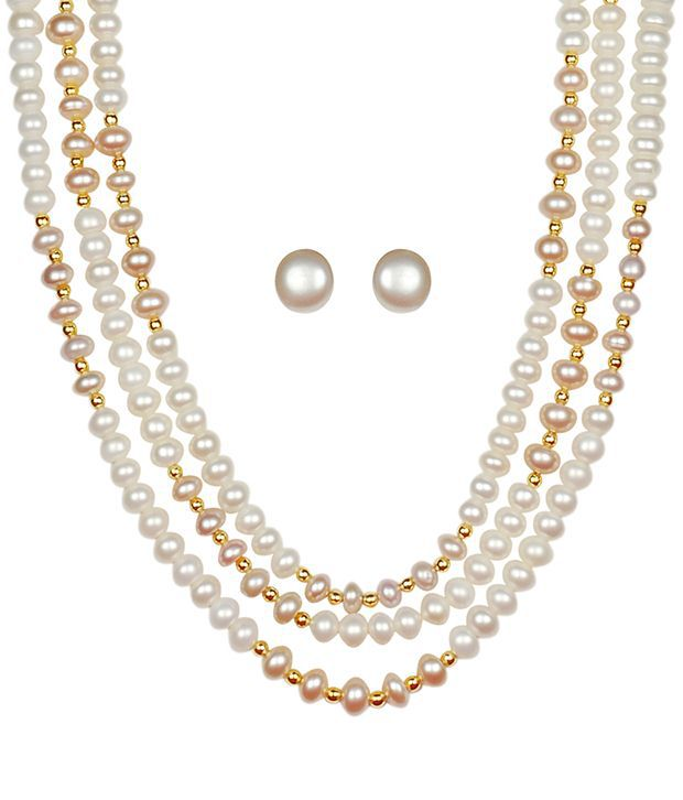15d386146845c Classique Designer Jewellery Gleaming Beige Pearl Necklace Set
