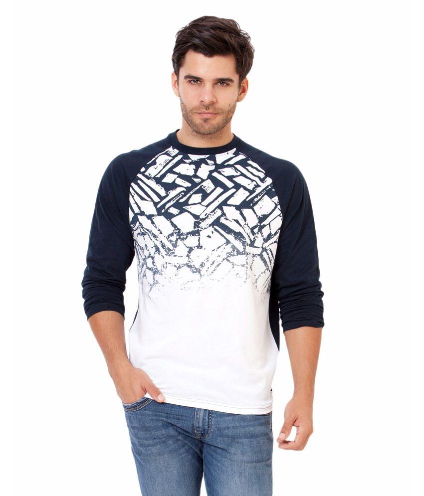 Elaborado Navy Printed Cotton T-shirt