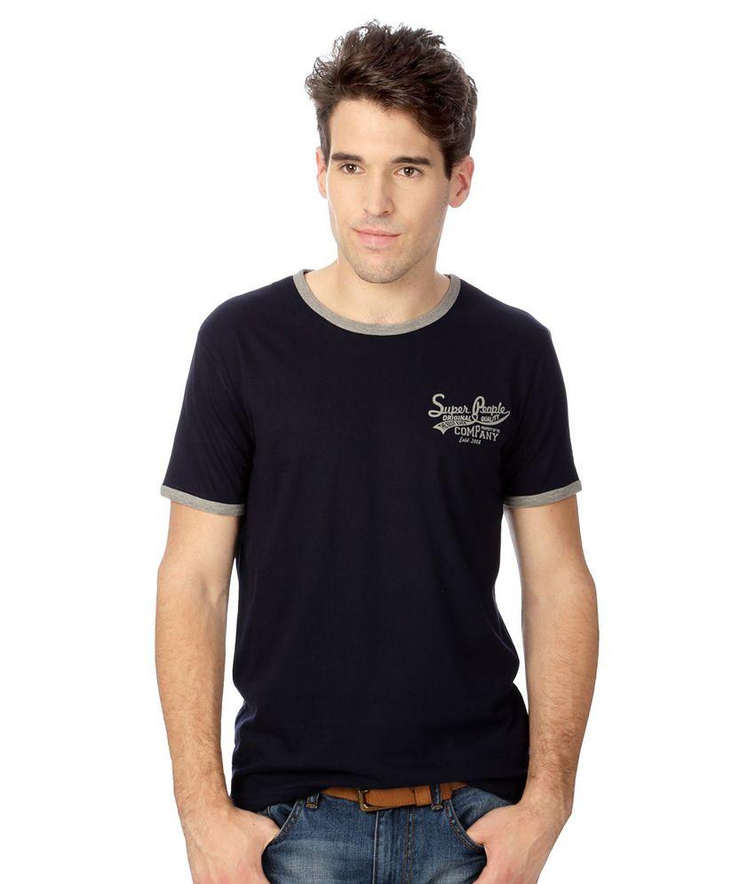 People Black Cotton T-shirt