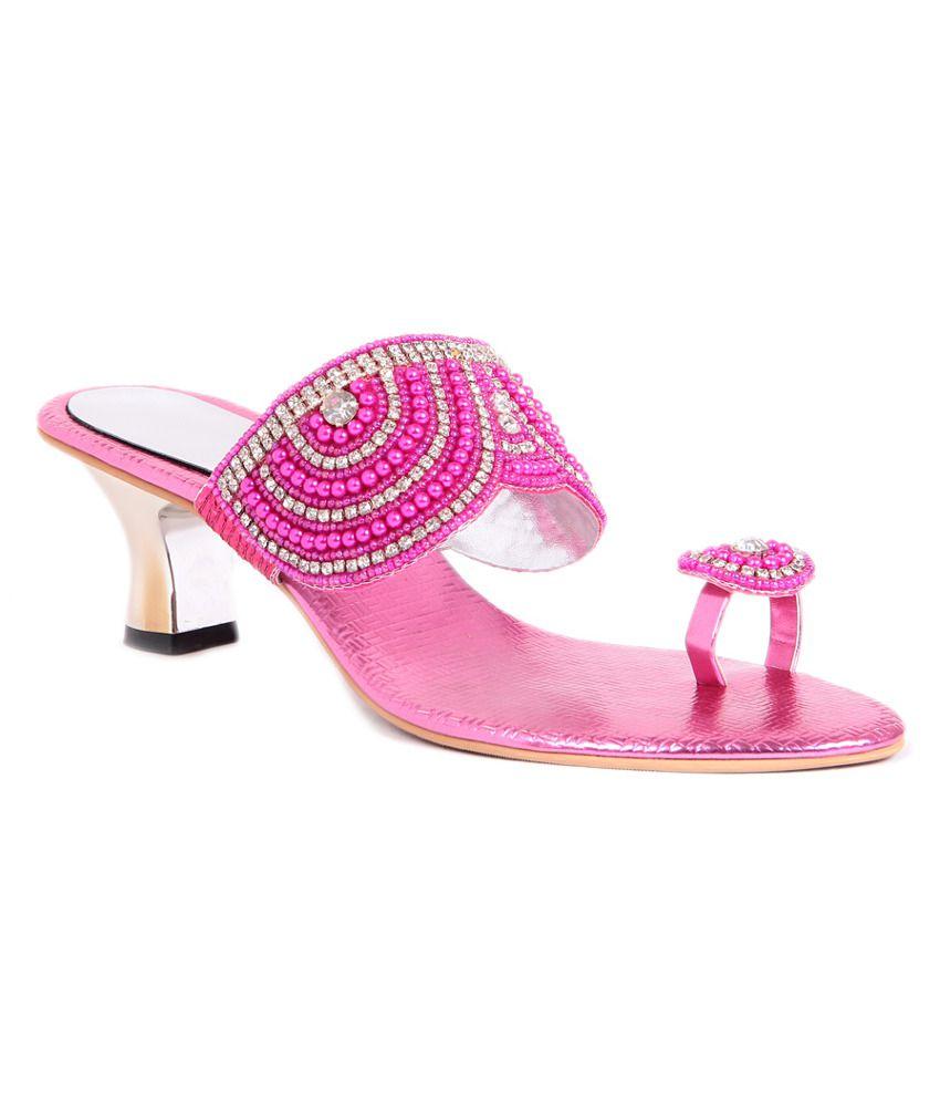 Sindhi Footwear Pink Heeled Slip-on