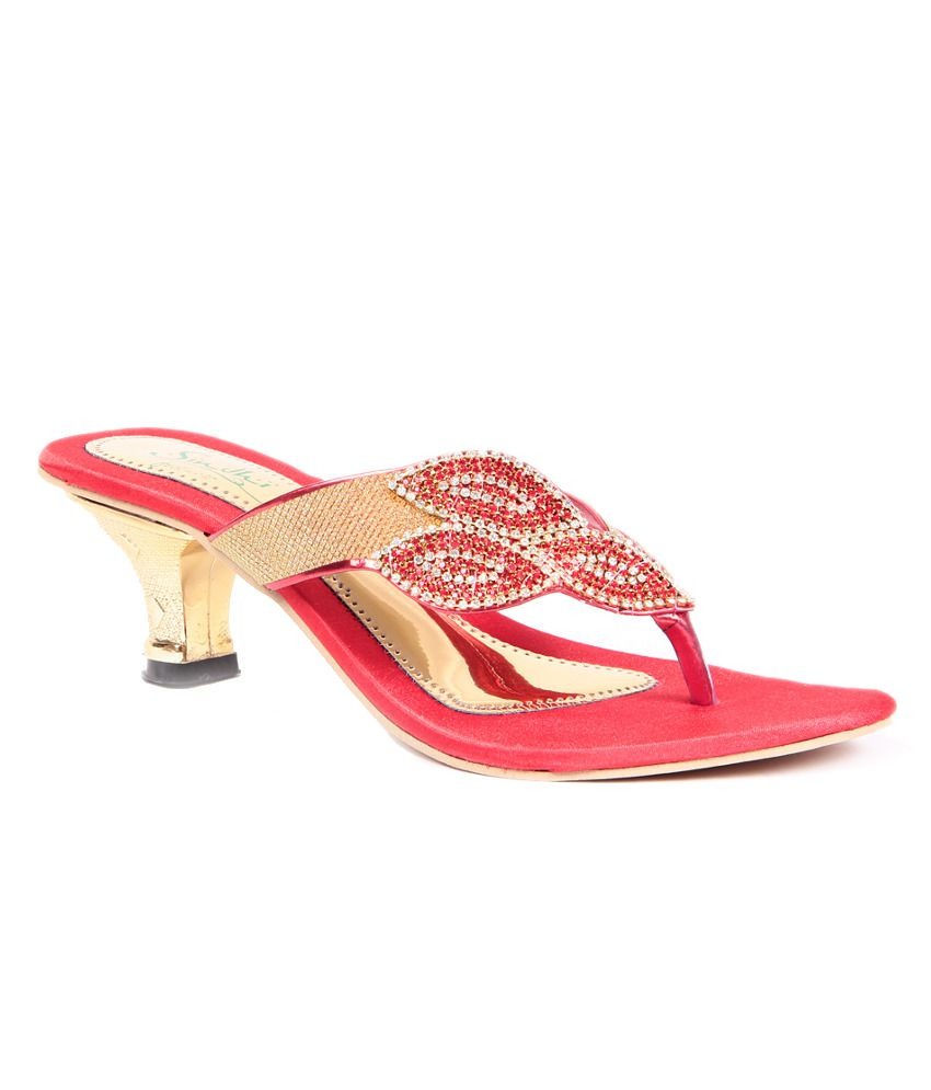 Sindhi Footwear Red Heeled Slip-on