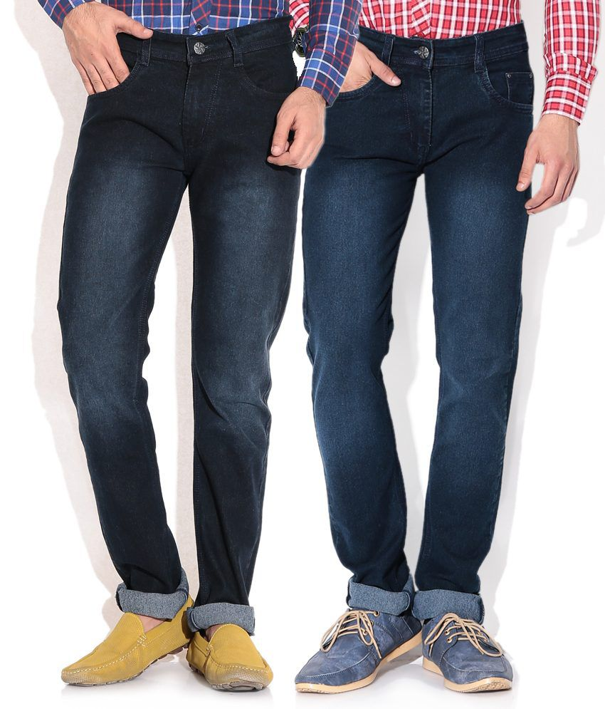 Pazel Blue Straight Jeans Combo Of 2