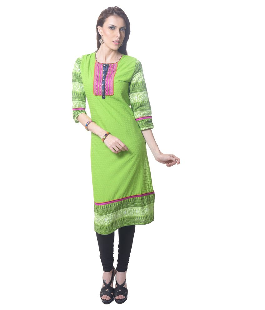 Saving Tree Green Cotton A Line Suit With Matching Contrast Legging And Dupatta
