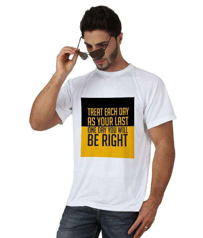 Trionic Men's Printed Round Neck T-shirt - Last - Snow White