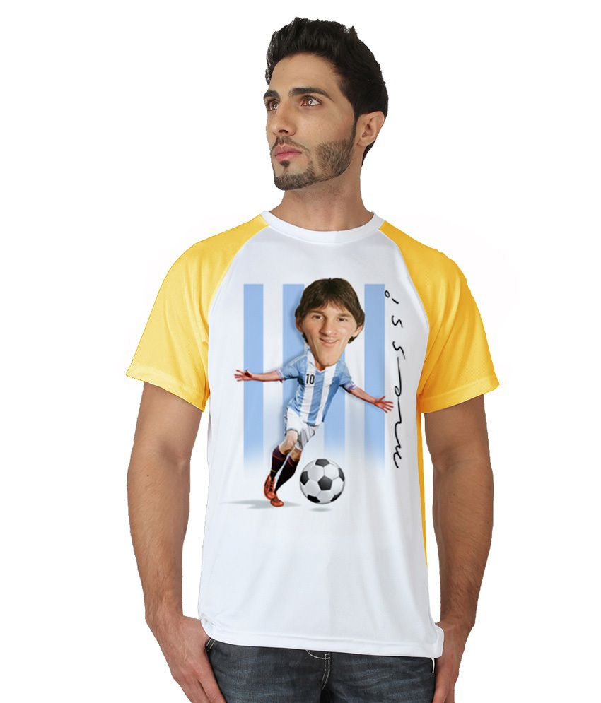 Trionic Men's Printed Round Neck T-shirt - Messi - Canary Yellow