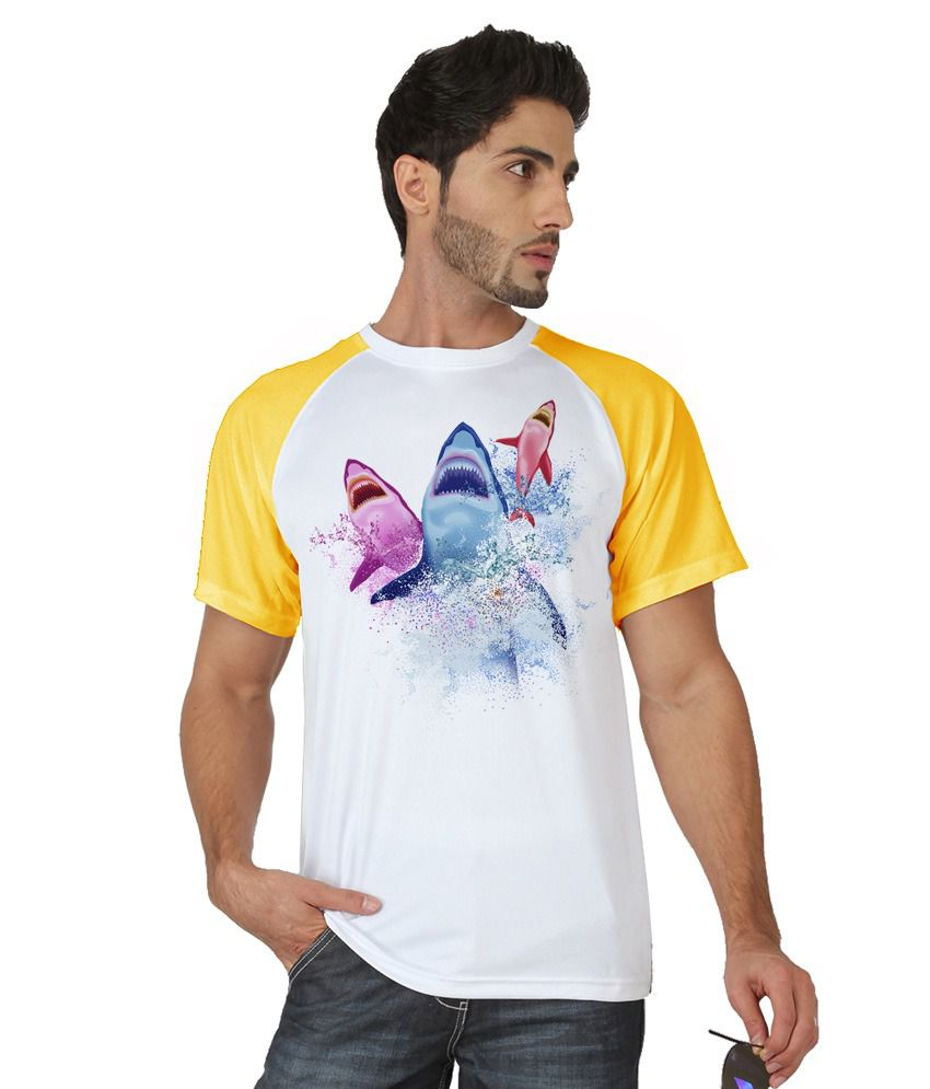 Trionic Men's Printed Round Neck T-shirt - Sharks - Canary Yellow