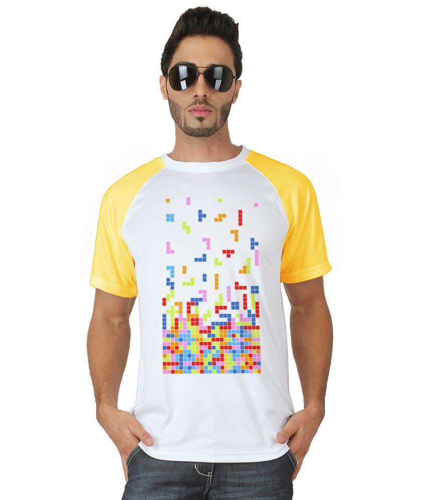 Trionic Men's Printed Round Neck T-shirt - Tetris - Snow White