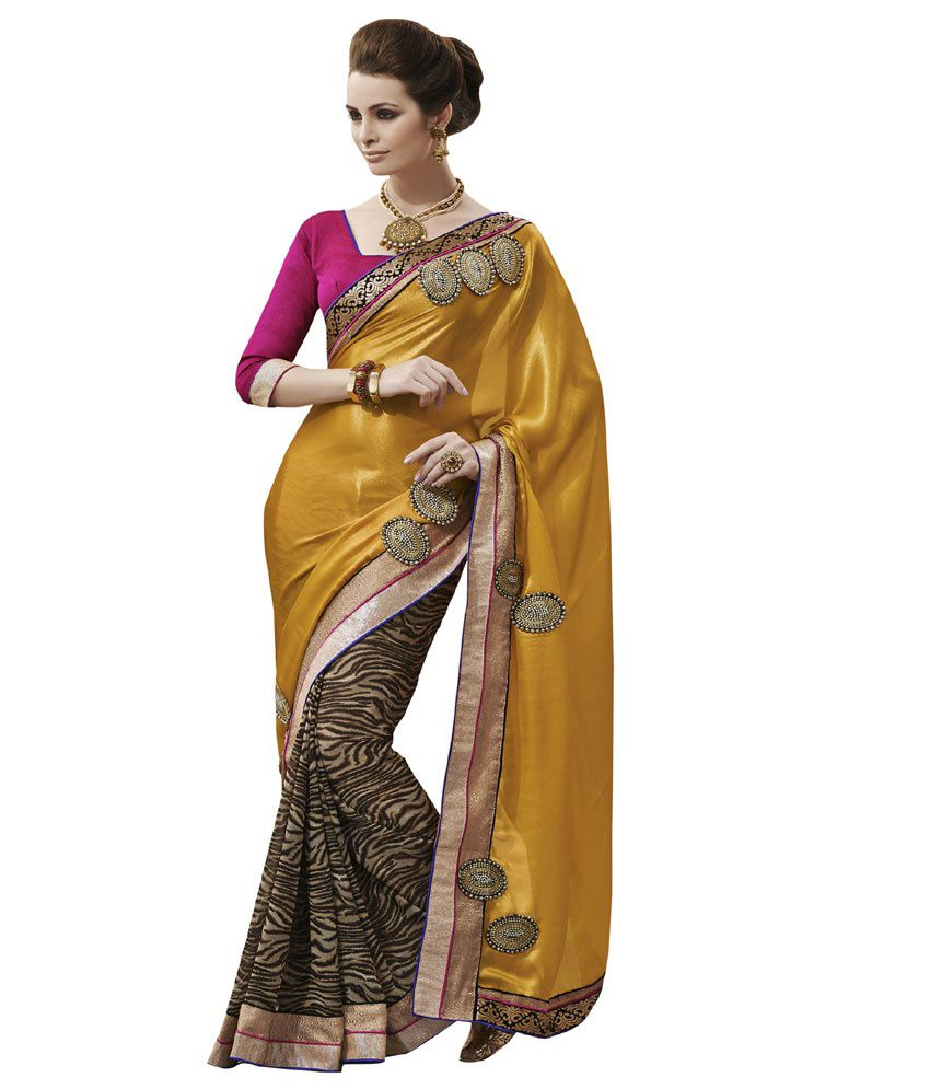 Aaradhya Yellow Embroidered Satin Saree With Blouse Piece