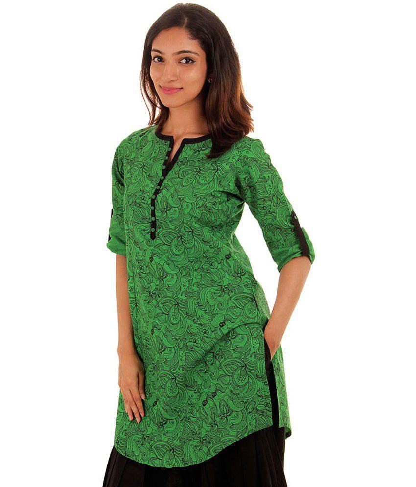Estyle Printed Green Short Kurta With U Cut Hemline - Buy ...