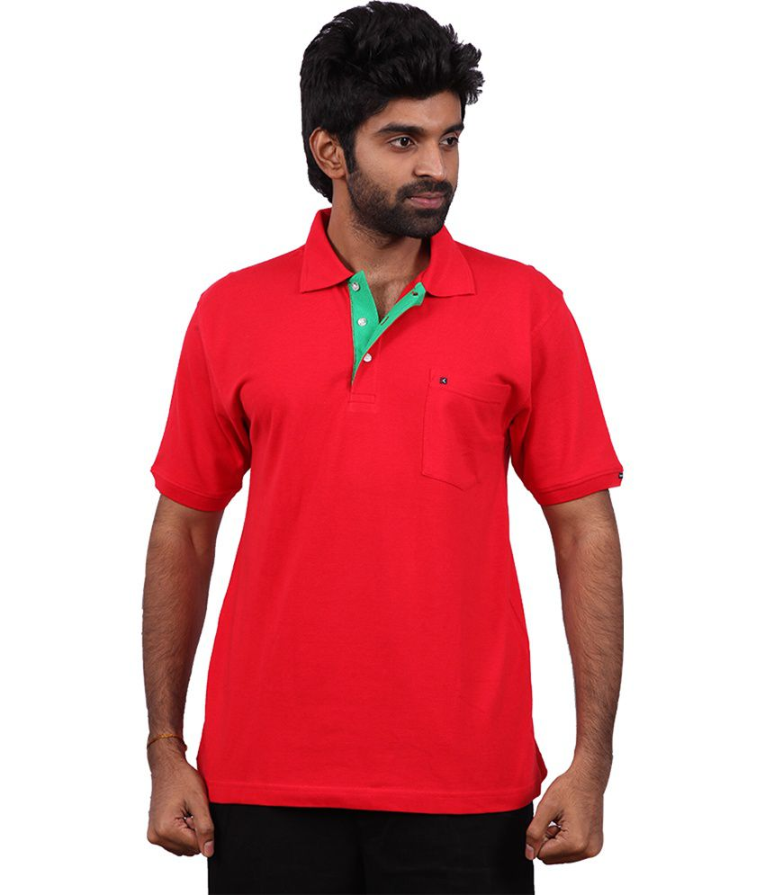 Karlsburg Red Cotton Half Sleeve T-shirt