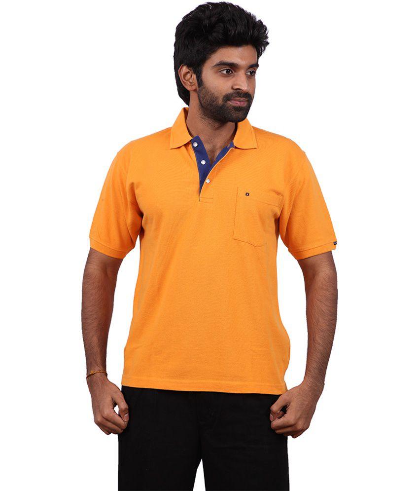 Karlsburg Yellow Cotton Half Sleeve T-shirt