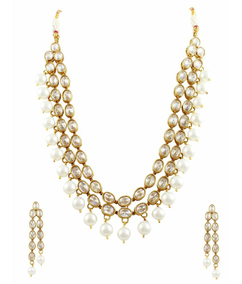 Orniza Indo Western Two Line Reverse AD Necklace Set with Pearl Border