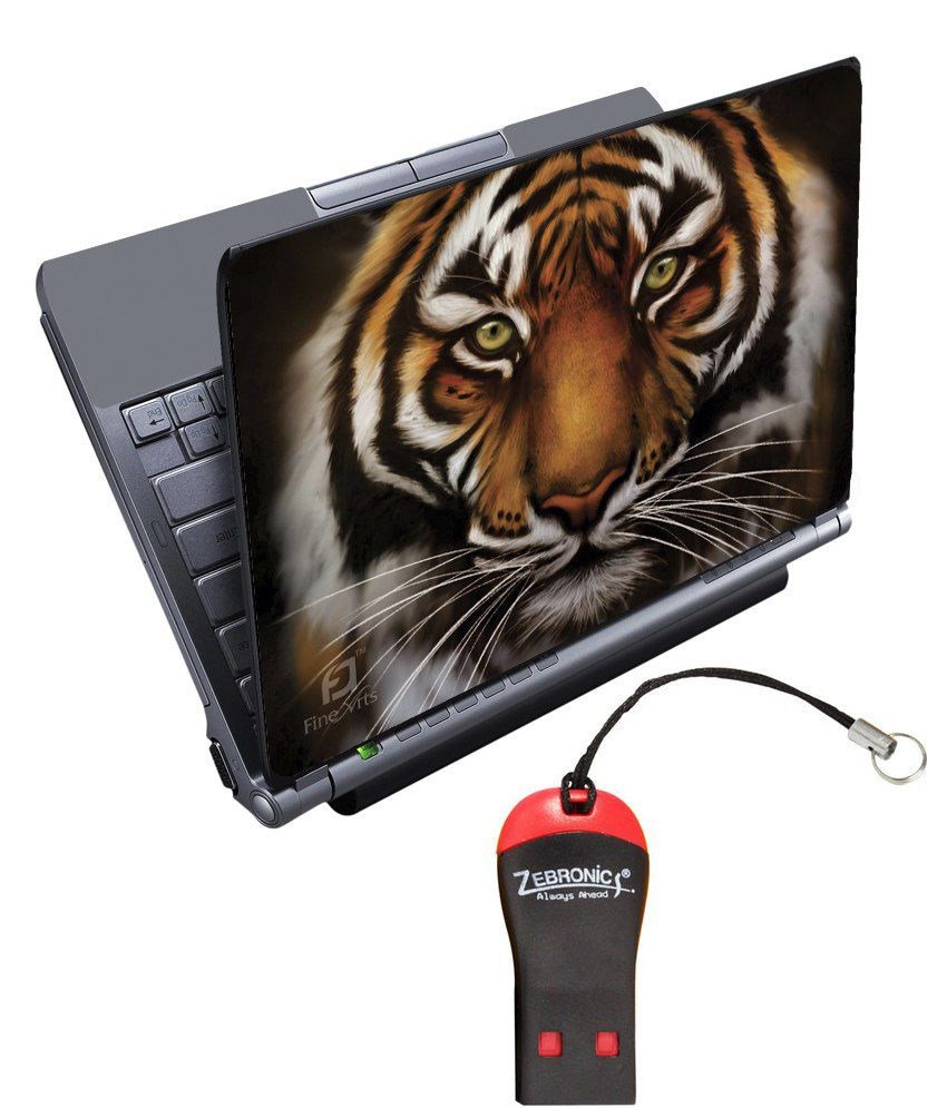 Finearts Textured Laptop Skin With Card Reader - Tiger Face Black Printed