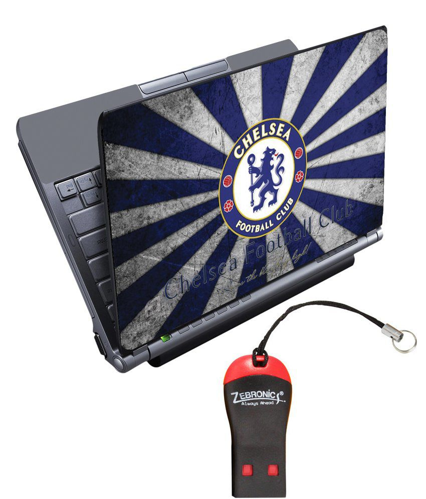 Finearts Textured Laptop Skin With Card Reader - Chelsea Football Club Rays Printed