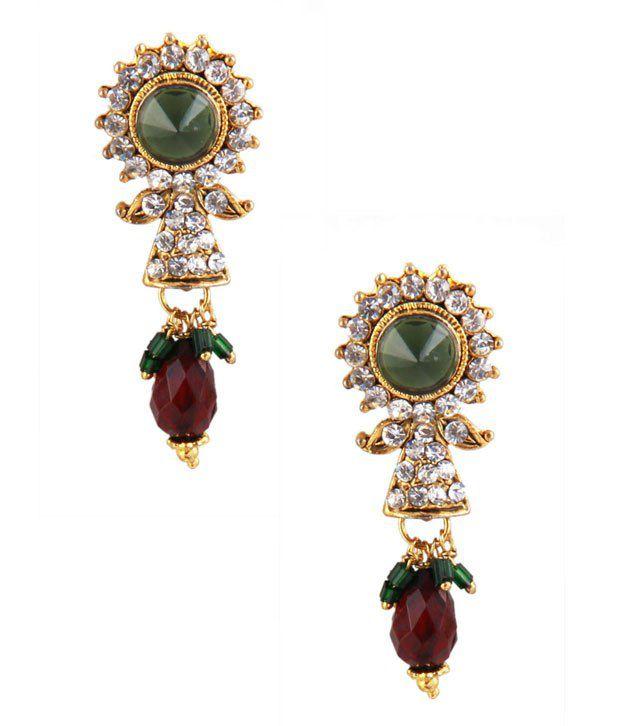 Jewelizer Ethnic Gold Tone Crystal Studded Dangle Earrings Jfv1e10055