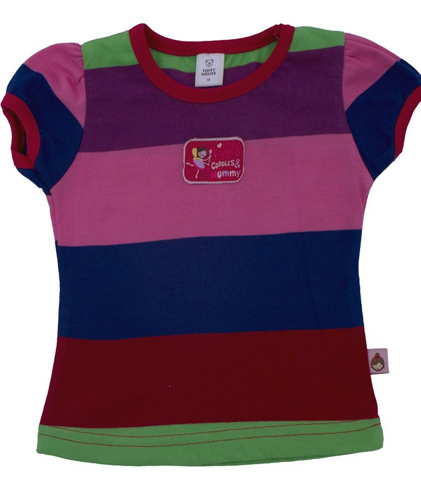 This N That Multi Color Cotton Blend Graphic & Patch Work Round Half baby tshirt