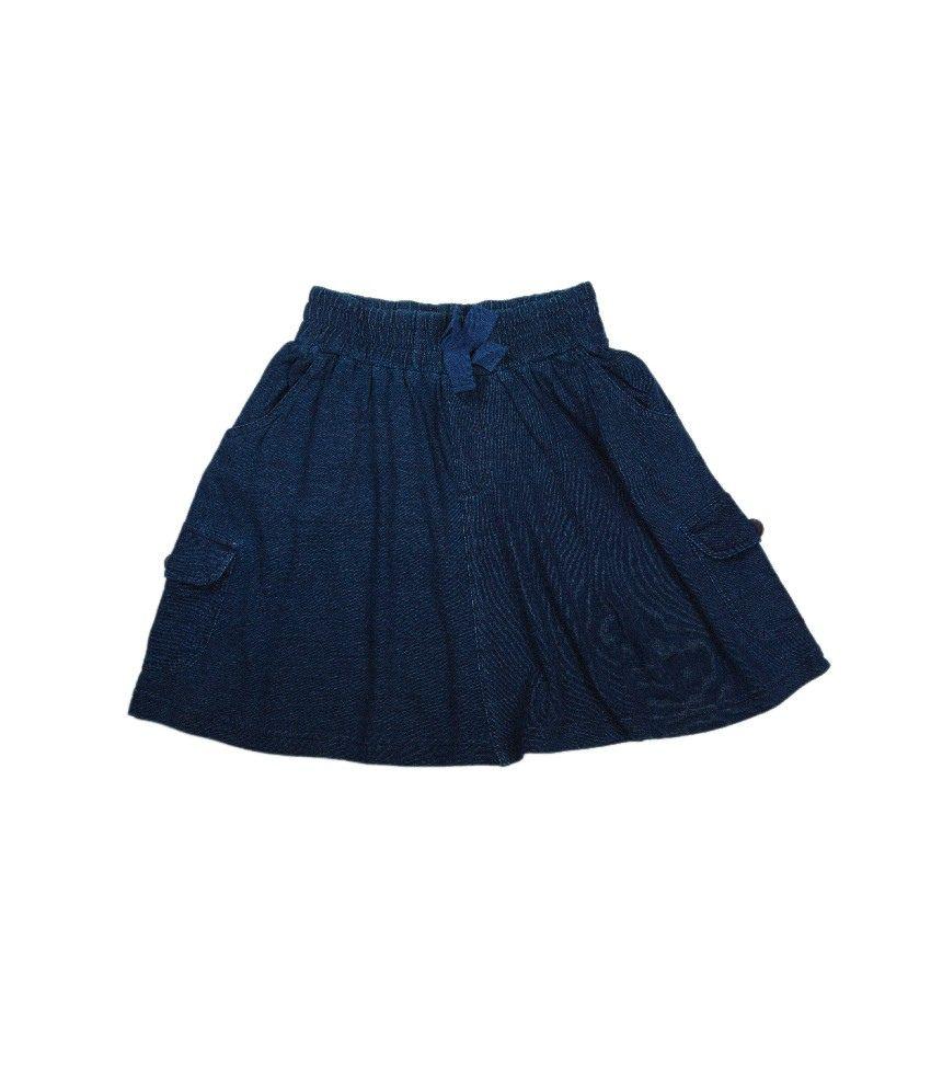 Ufo Blue Color Denim Skirt For Kids