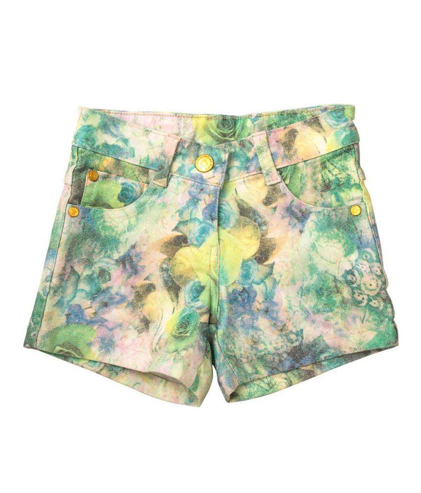 Tangerine Green Cotton Shorts