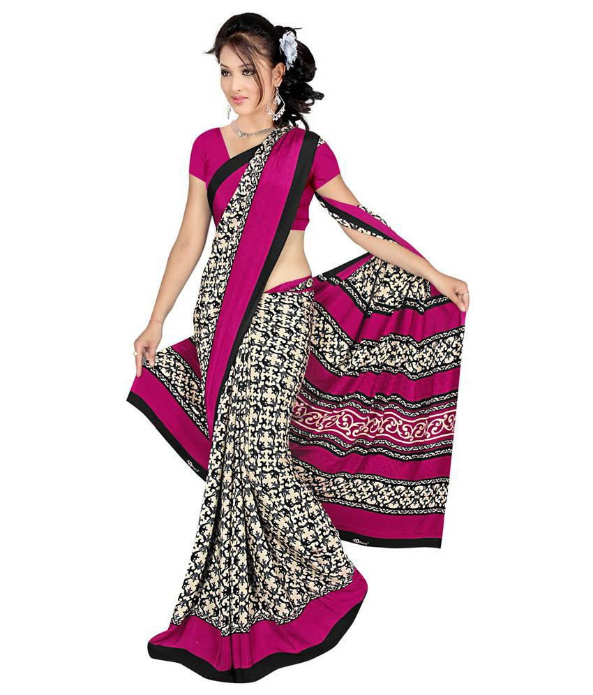 fablook Pink Art Crepe Saree