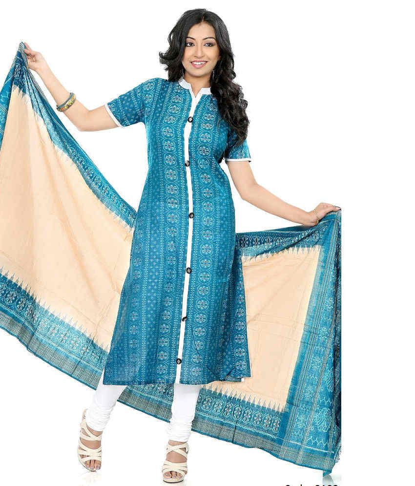 51b9700f85 Fashion Handloom White and Blue Cotton Ilkal Dress Material - Buy Fashion  Handloom White and Blue Cotton Ilkal Dress Material Online at Best Prices  in India ...