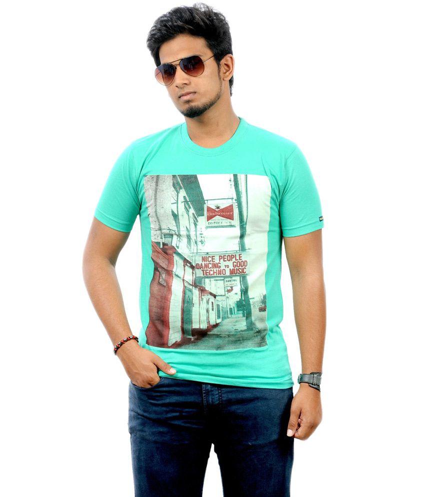 Stylefox Green Cotton Printed Half Sleeves T-shirt
