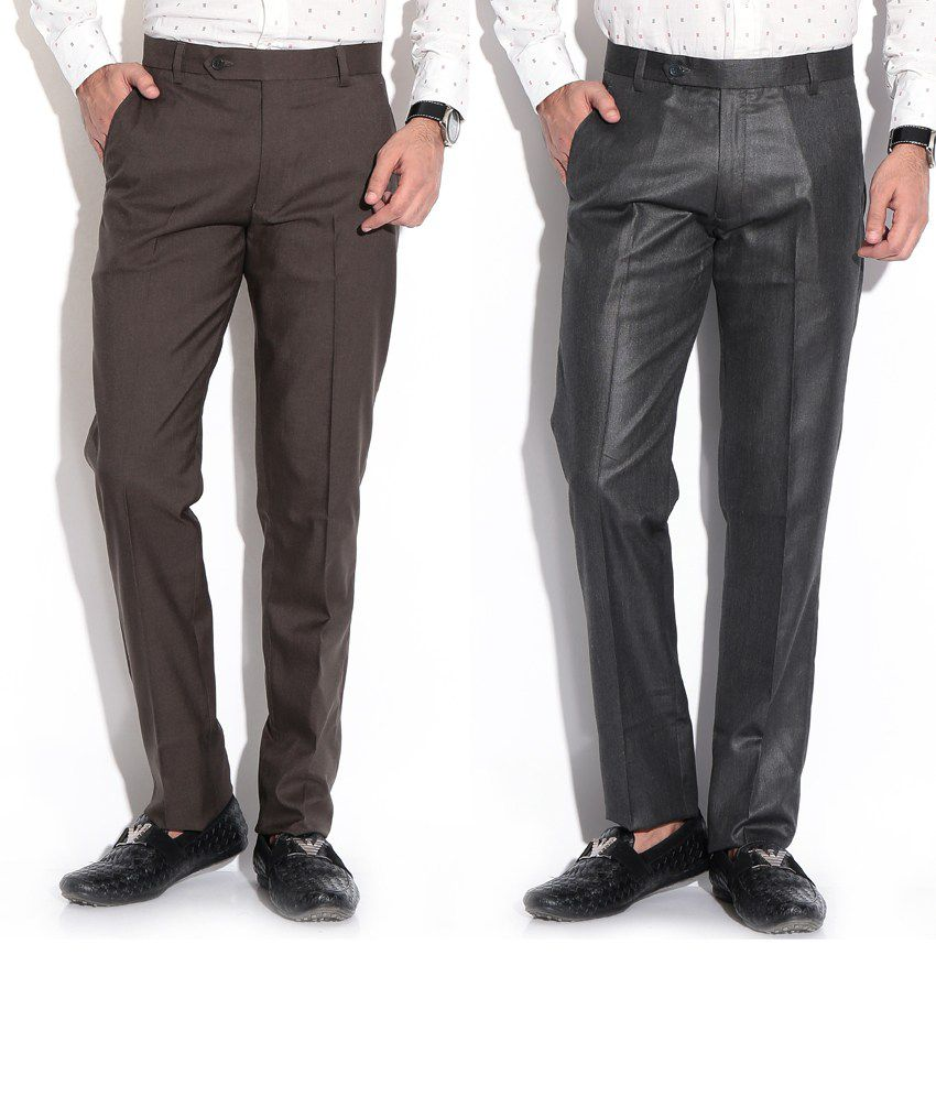 Fizzaro Black Regular Formals Pack Of 2 Formal Trouser