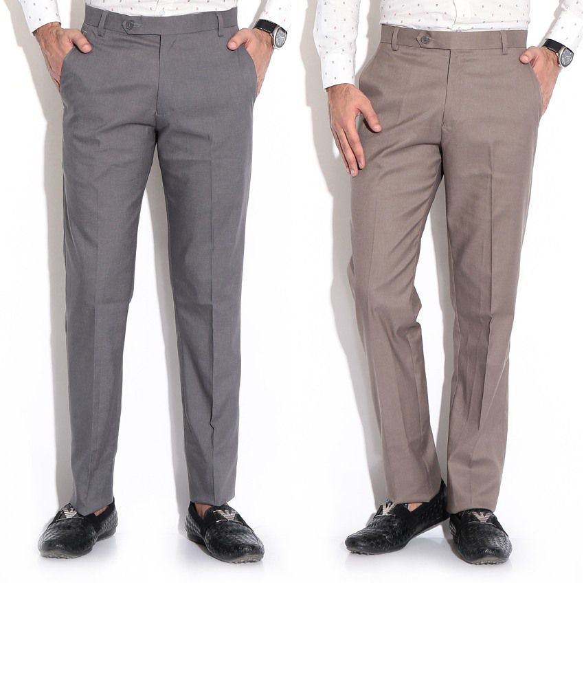 Fizzaro Gray Regular Formals Pack Of 2 Formal Trouser