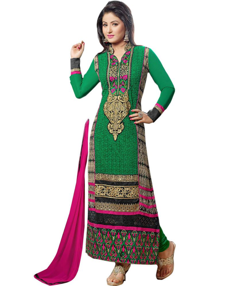 ada3cf566c Khantil Hina Khan Rich-look Designer - Green Ankle Dress Material - Buy  Khantil Hina Khan Rich-look Designer - Green Ankle Dress Material Online at  Best ...