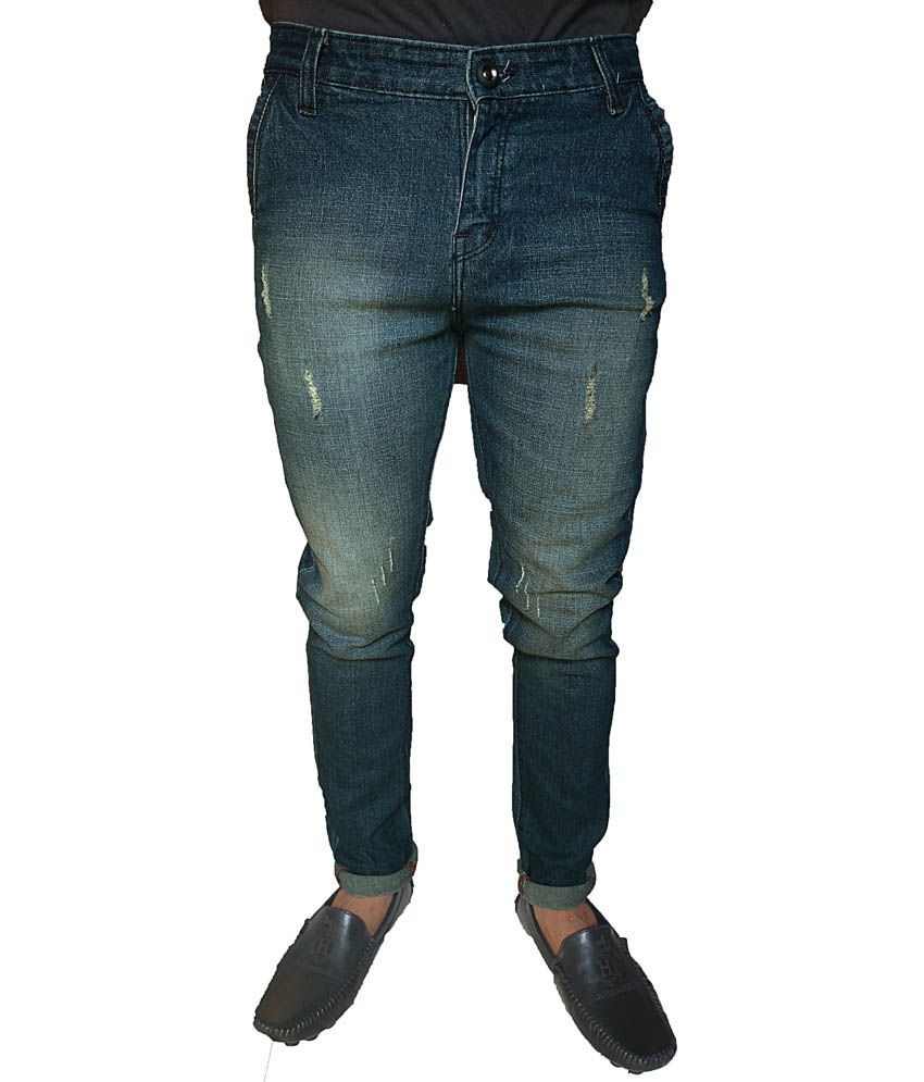 Oiin Blue Cotton Faded Jeans