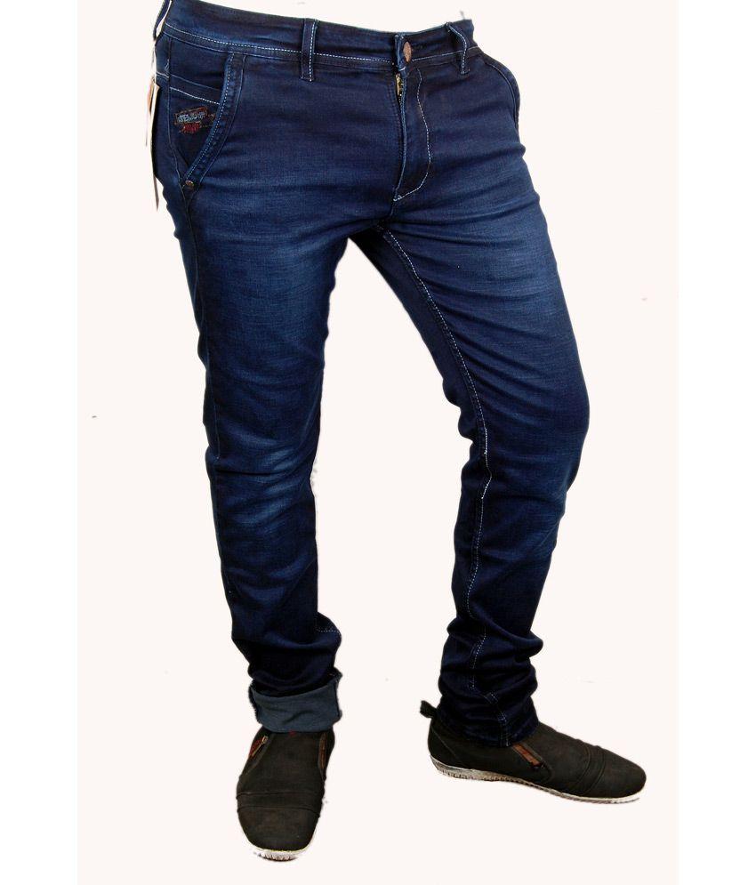 Peter John Blue Cotton Slim Fit Jeans