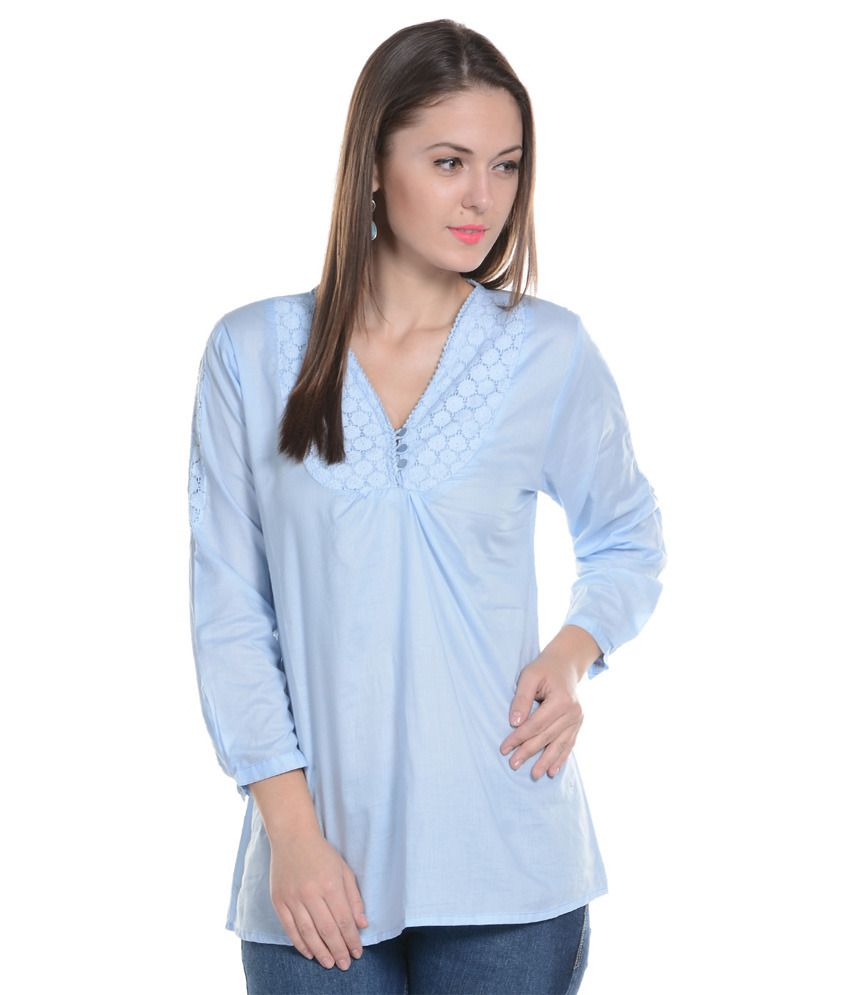 6de0a2362 U F Blue Cotton Tops - Buy U F Blue Cotton Tops Online at Best Prices in  India on Snapdeal