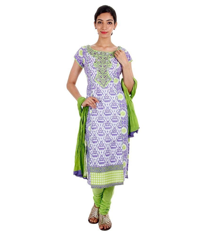 Estyle Purple Cotton Printed Salwar Suit With Dupatta