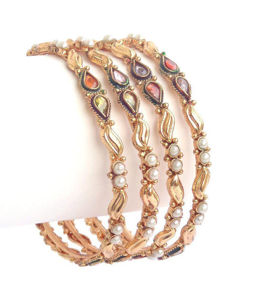 Nishiratna Antique Design Gold Plated ( 1 Gm ) Bangles