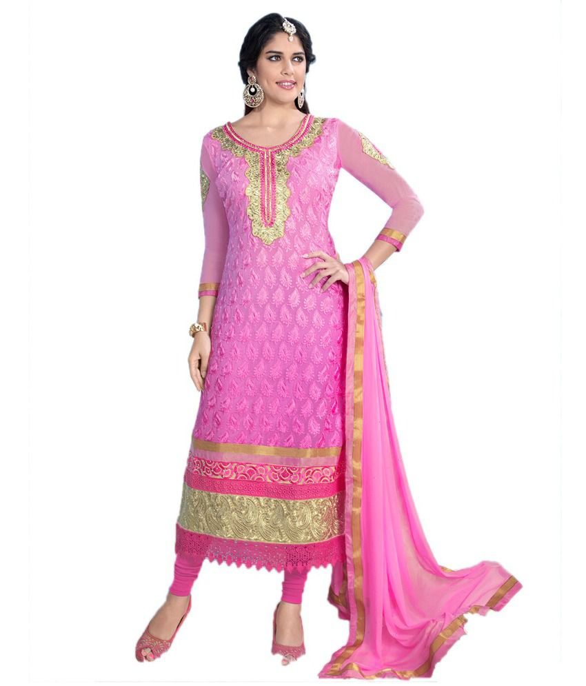 Party Wear Dresses Pink Embroidered Faux Georgette Pakistani Suits ...