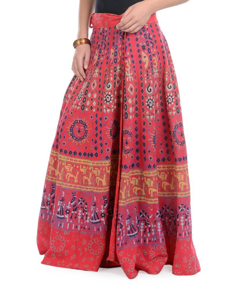a62bc9e785f Buy Rajasthani Sarees Red Cotton Skirts Online at Best Prices in India -  Snapdeal