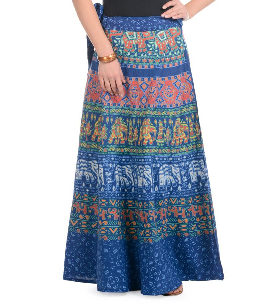 9ccc1fb670d Buy Rajasthani Sarees Blue Cotton Skirts Online at Best Prices in India -  Snapdeal