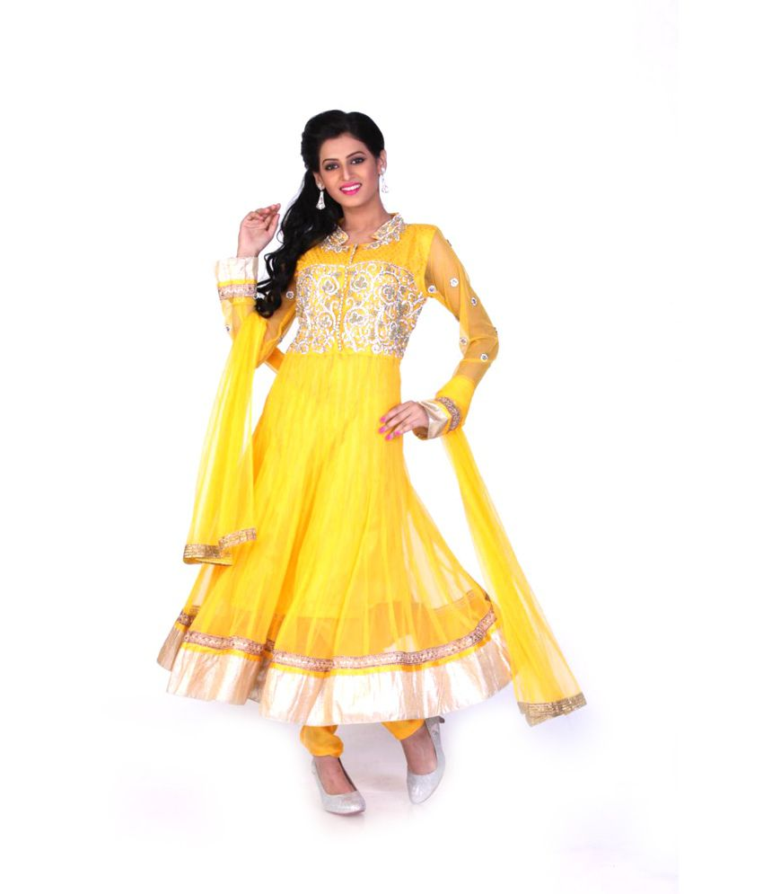 Sareeshut Yellow Net Embroidered Anarkali Salwar Suit