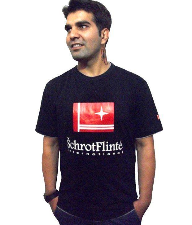 Schrotflinte International Black Cotton Free Size Printed T-shirt