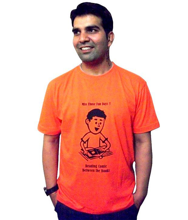 Schrotflinte International Orange Cotton Free Size Printed T-shirt