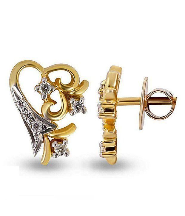 Shashvat Jewels 9kt Gold Hearts Hallmarked Shimmering Diamond Stud Heart Earring